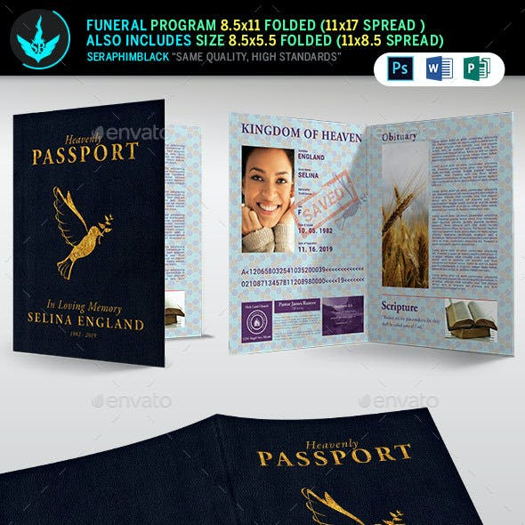 Passport Funeral Program Template