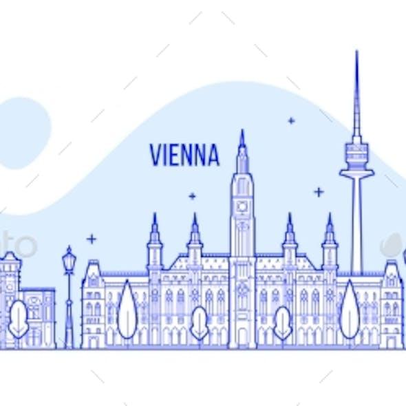 Vienna Skyline Austria City Buildings Vector