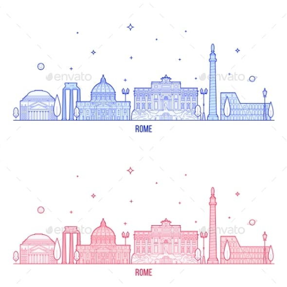 Rome Skyline Italy City Buildings Vector