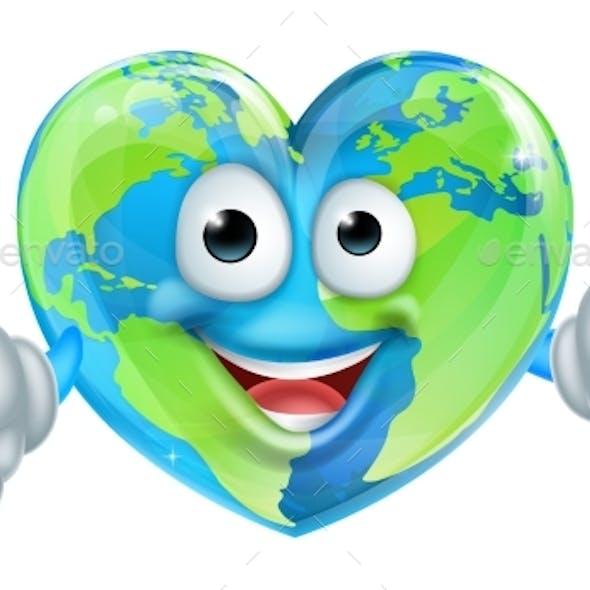 Cartoon World Earth Day Thumbs Up Heart Globe