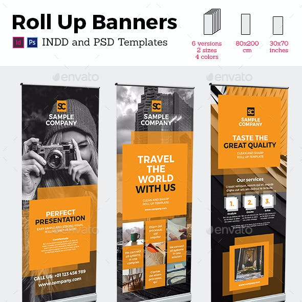 Square Style Rollup Stand Banner Display 24x InDesign and Photoshop Template