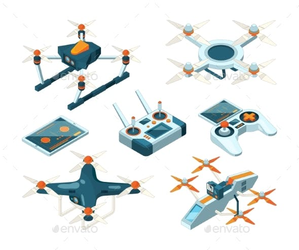 Isometric 3d Pictures of Drone Copters