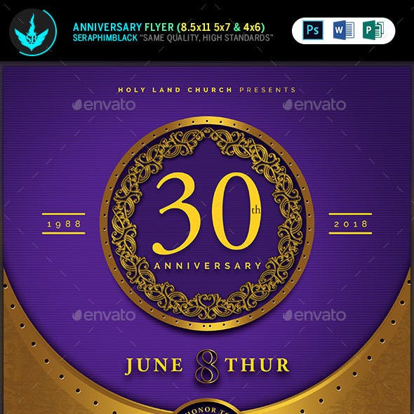 Gold and Violet Church Anniversary Flyer Template