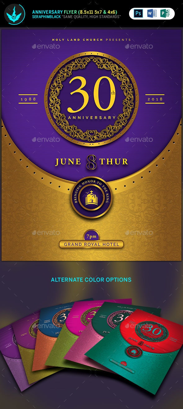 Gold and Violet Church Anniversary Flyer Template - Church Flyers