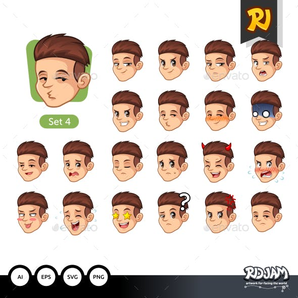 The Fourth Set of Male Facial Emotions with Red Hair