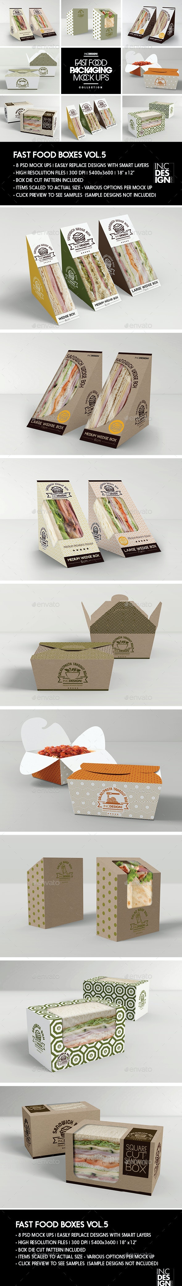 Fast Food Boxes Vol.5:Take Out Packaging Mock Ups - Food and Drink Packaging