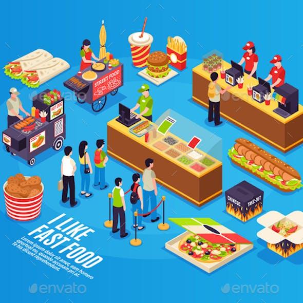 Fast Food Isometric Design Concept