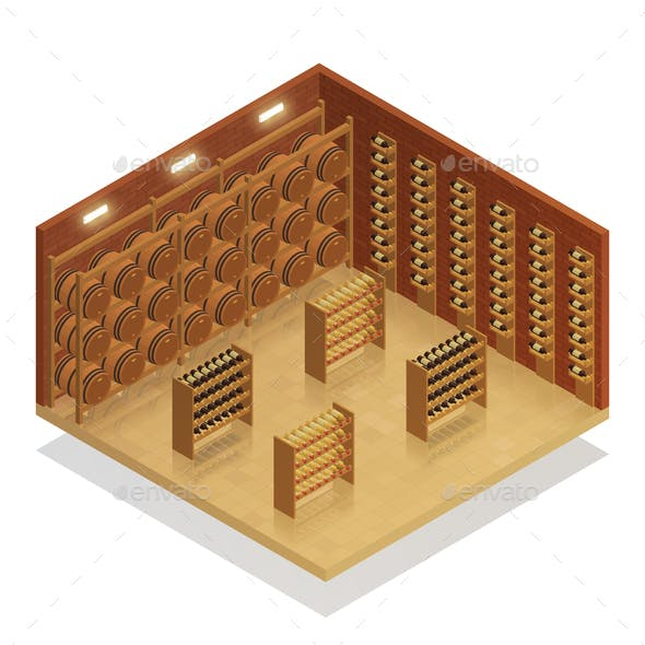 Wine Cellar Isometric Composition