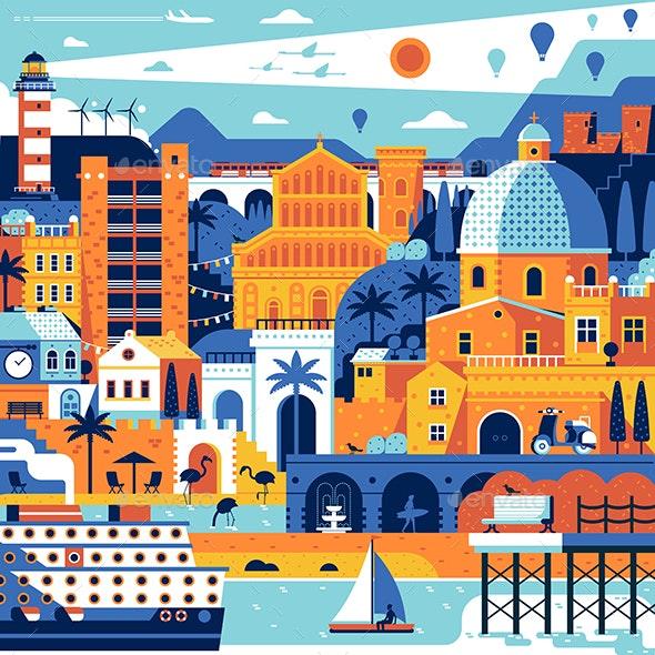 Mediterranean Sea Town Travel Poster - Travel Conceptual
