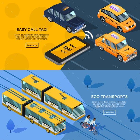 Isometric Transport Horizontal Banners