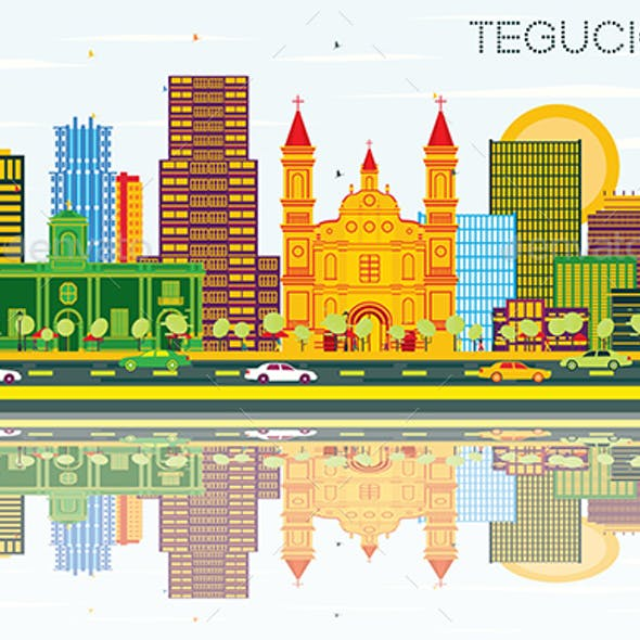 Tegucigalpa Honduras City Skyline with Color Buildings, Blue Sky and Reflections