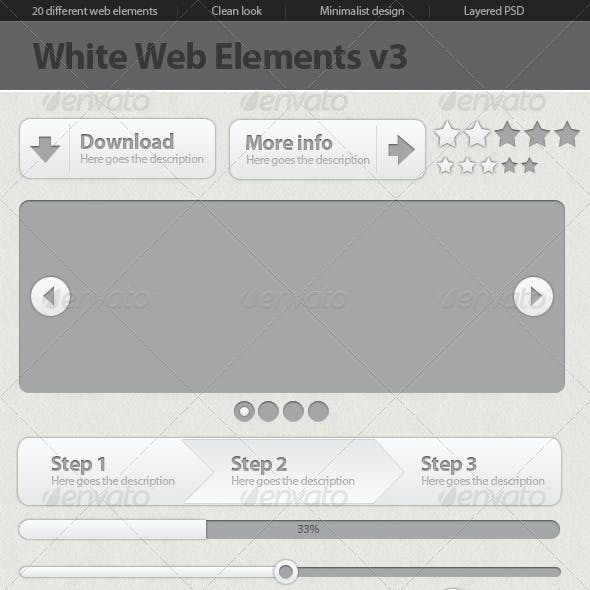 Minimalist White Web Elements v3