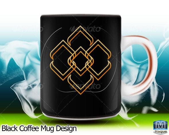 Black Coffee Mug Design - Objects Illustrations