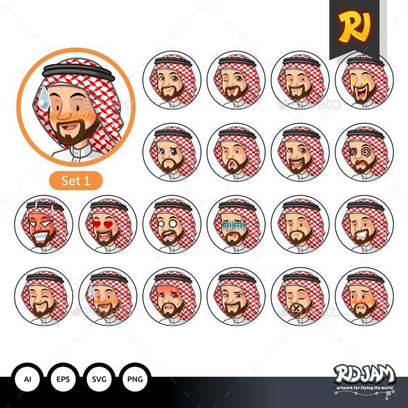 The First Set of Saudi Arab Man Cartoon Character Design Avatars
