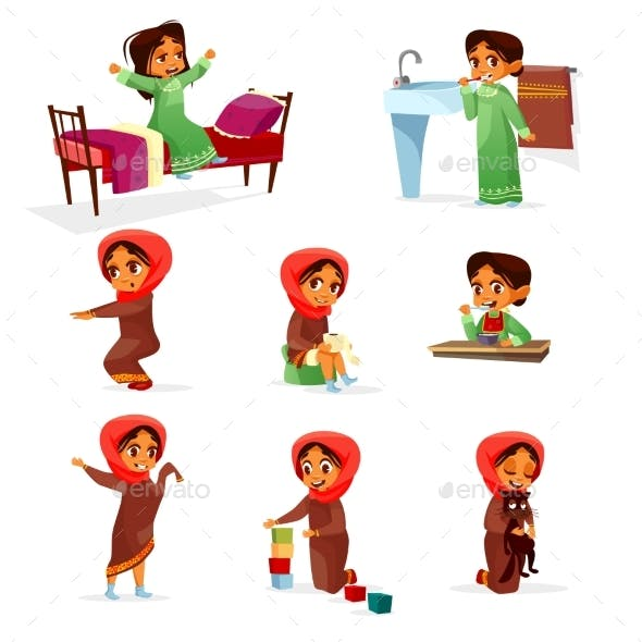 Vector Arab Girl Daily Morning Routine Activity