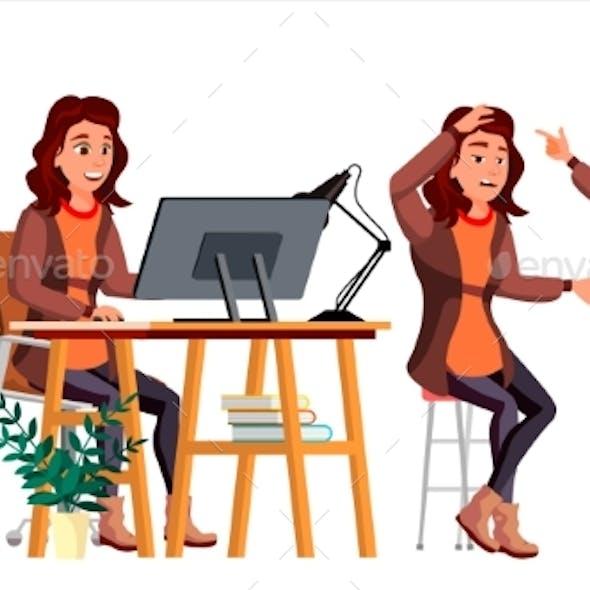 Office Worker Vector. Woman. Modern Employee