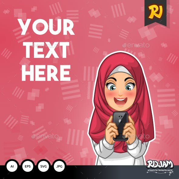 Muslim Woman Happy While Looking Her Smartphone Vector Illustration