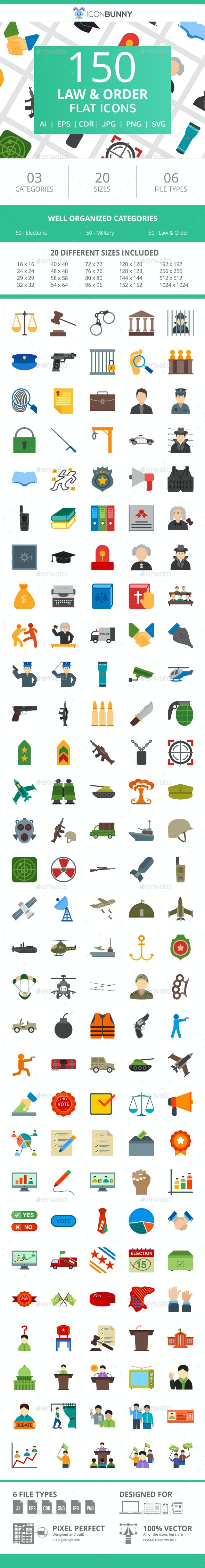 150 Law & Order Flat Icons - Icons
