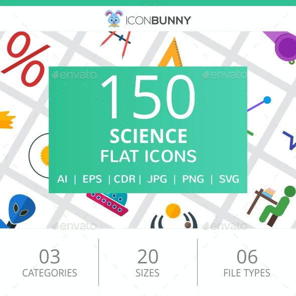 150 Science Flat Icons