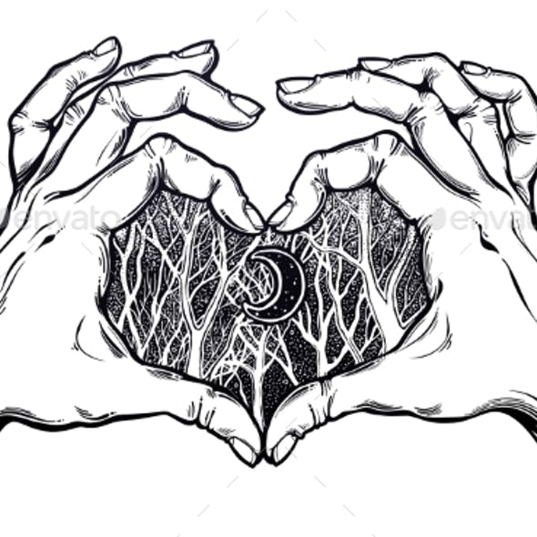 Two Hands Making Heart Sign Woodland Night Scenery
