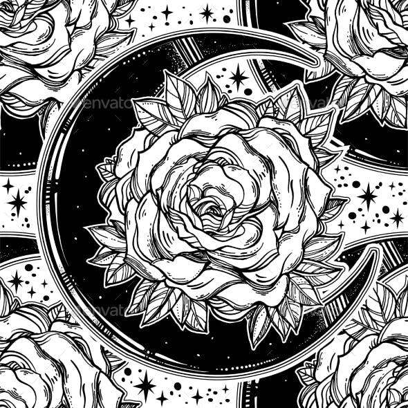 Rose Inside a Crescent Moon Ornate Seamless