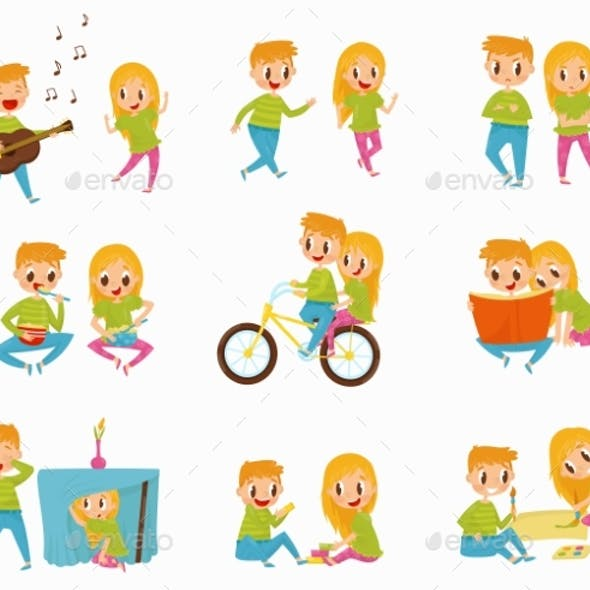 Flat Vector Set with Little Boy and Girl