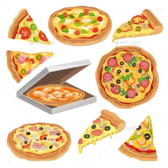 Flat Vector Set of Round Pizza, Triangle Slice