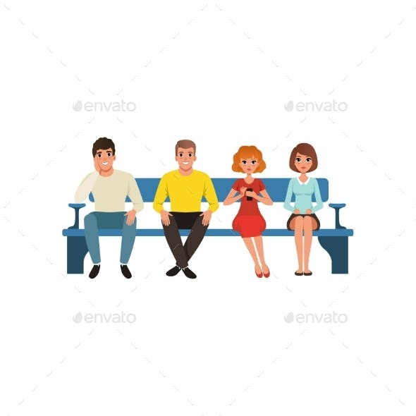 Queue of Four People Sitting on Blue Bench