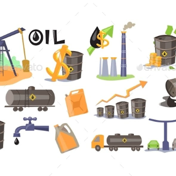 Oil Industry Set, Extraction, Refinery, Production