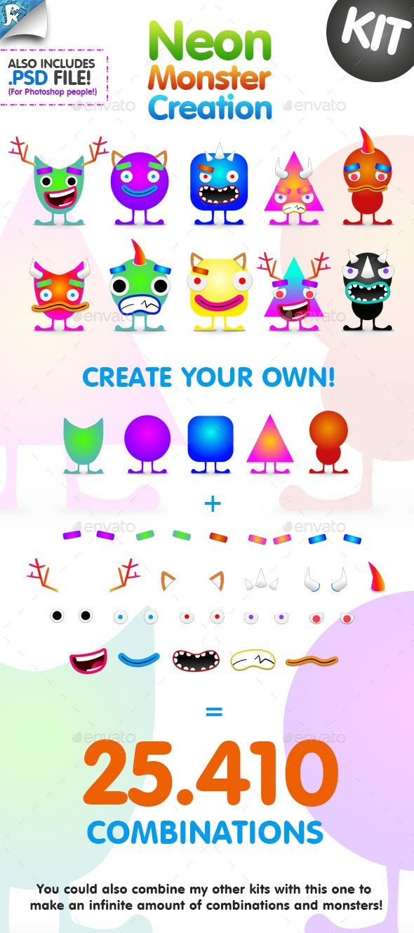 Neon Monster Creation Kit - Characters Illustrations