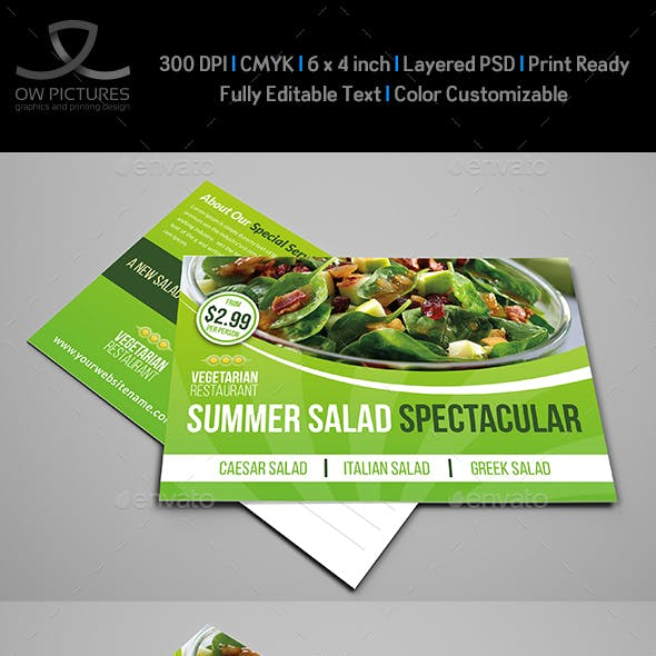 Salad Restaurant Postcard Template