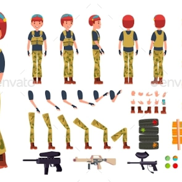 Paintball Player Male Vector. Animated Character