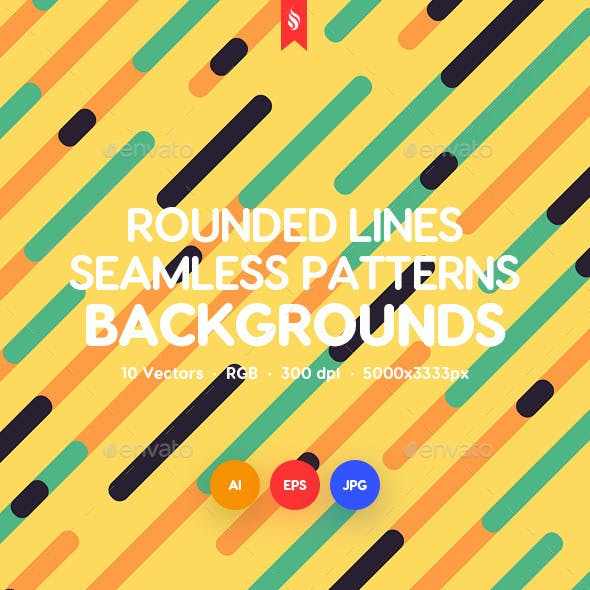 Diagonal Rounded Lines Seamless Patterns / Backgrounds