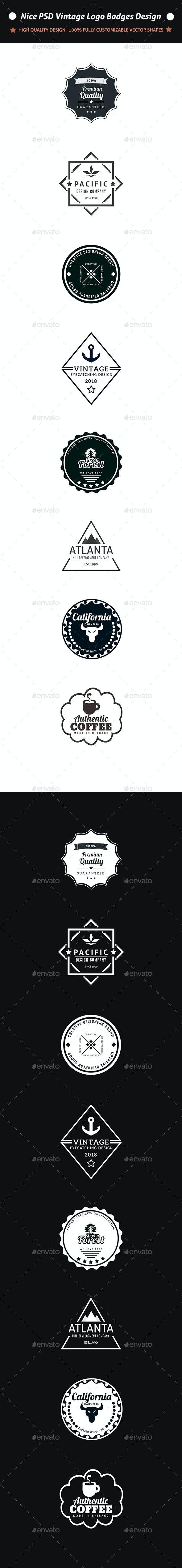 Nice PSD Vintage Logo Badges Design - Badges & Stickers Web Elements