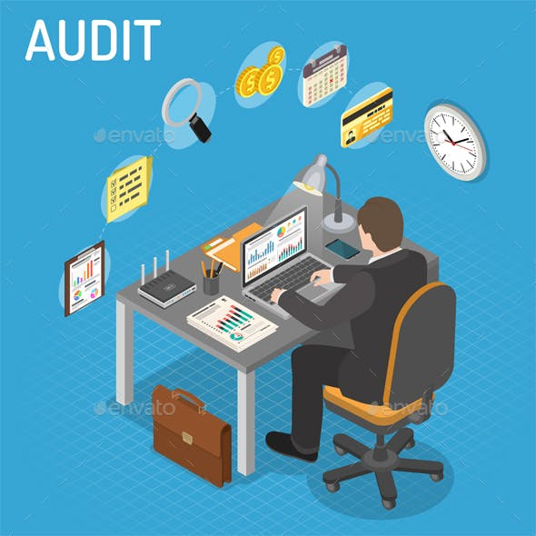 Auditing, Tax, Accounting Isometric Concept
