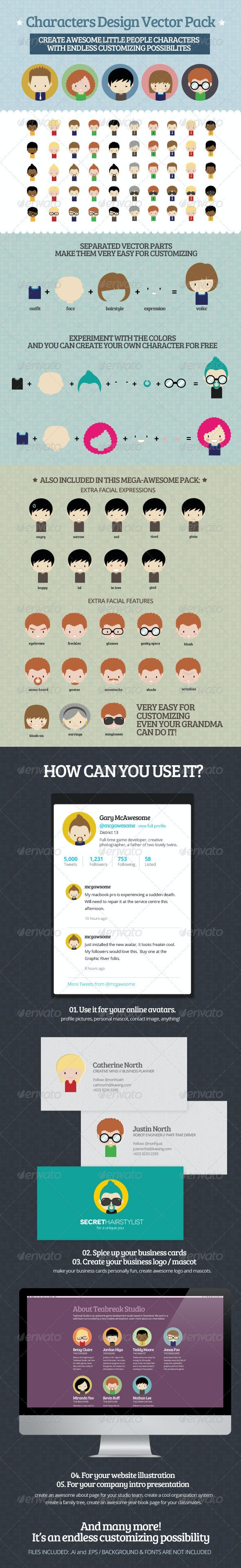 Characters Design Vector Pack - People Characters