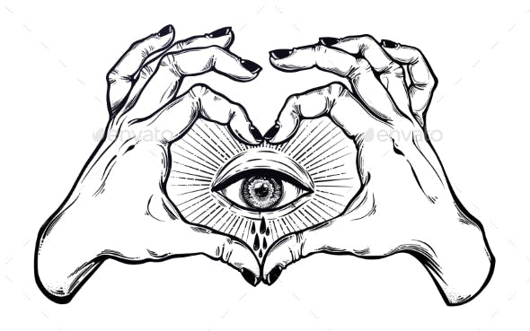 Two Hands Making Heart Sign with Eye Crying Tears
