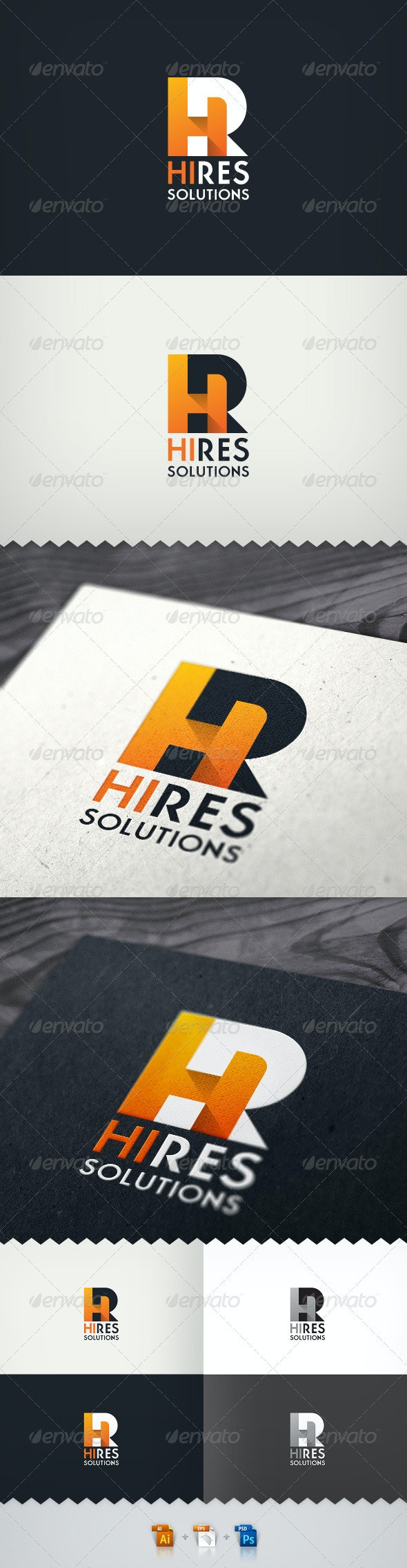 Hi-Res Solutions Render Farm Logo - Letters Logo Templates