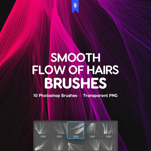 Smooth Flow of Hair Photoshop Brushes