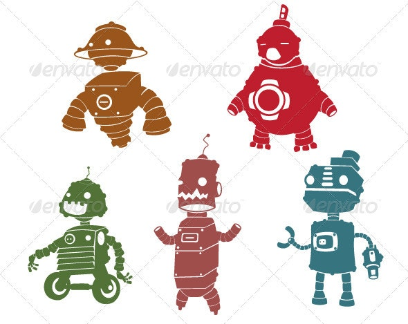 Silhouettes of Robot - Characters Vectors