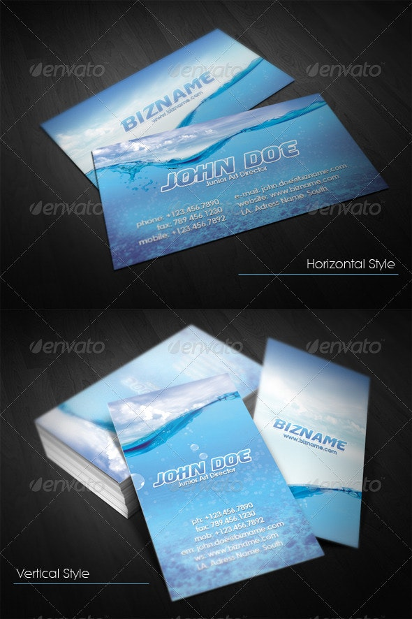 Water Business Card - Business Cards Print Templates