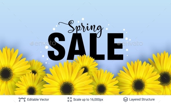 Spring Season Flowers and Sale Text. - Seasons/Holidays Conceptual