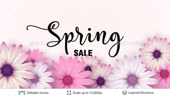 Spring Season Flowers and Sale Text. - Seasons/Holidays Conceptual