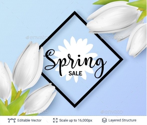 Spring Season White Tulips and Sale Text. - Seasons/Holidays Conceptual