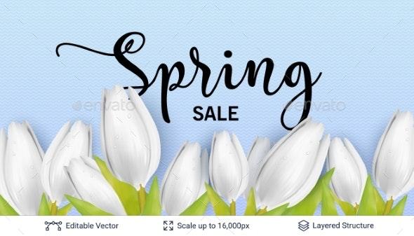 Spring Season White Tulips and Sale Text. - Seasons/Holidays Conceptual