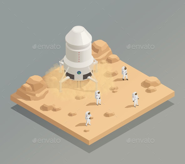 Spacecraft Crew Astronauts Isometric Composition - People Characters