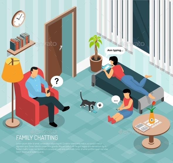 Family Home Chatting Isometric Poster - Technology Conceptual