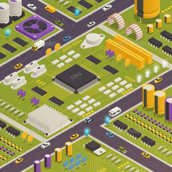 Semiconductor Electronic Components Isometric Composition - Industries Business