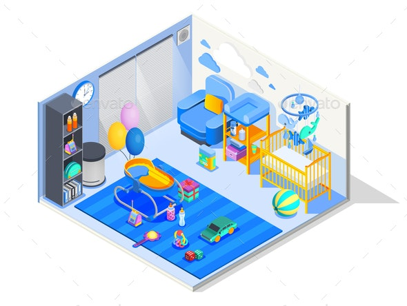 Baby Room Isometric Composition - Miscellaneous Vectors