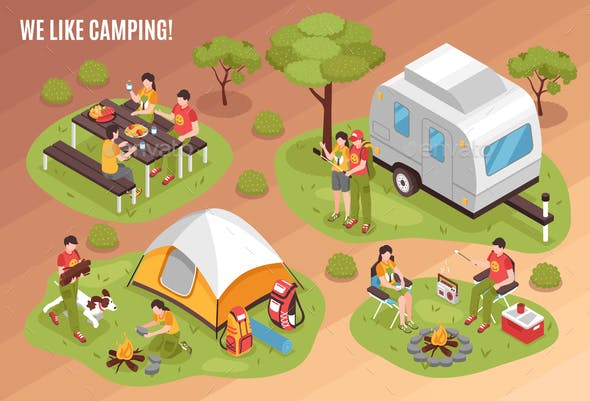 Camping Barbecue Isometric Set